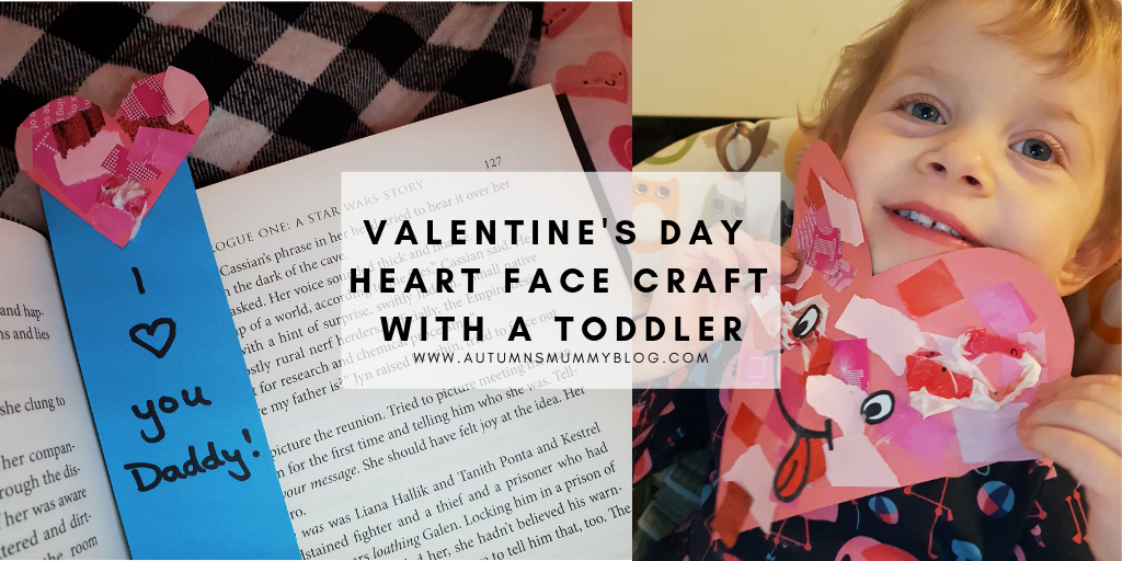 Valentine's Day Heart Face Craft with a toddler