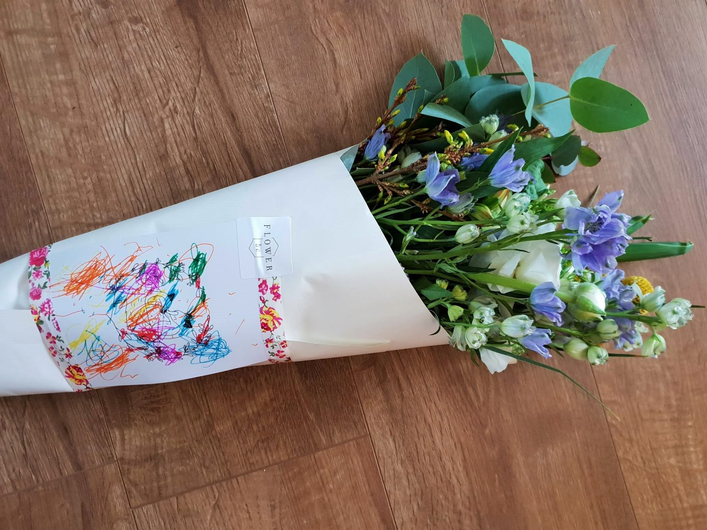 Mother's Day flowers from FlowerBe decorated with kid's creative kit