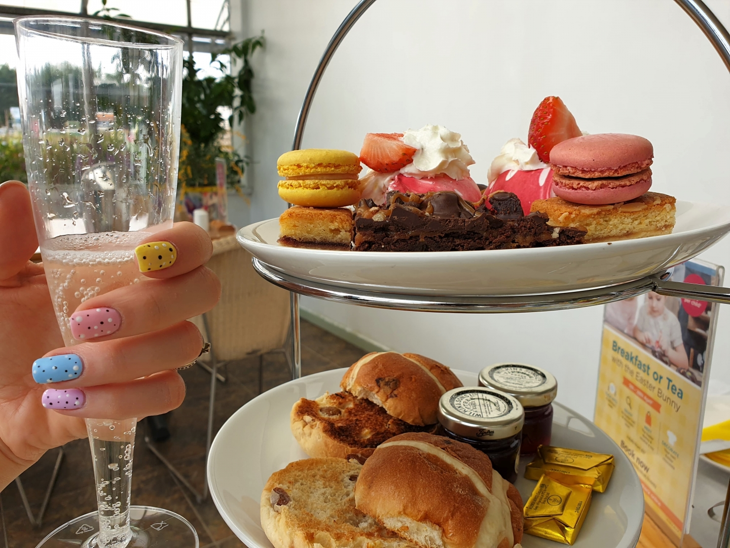 Easter afternoon tea with prosecco at Wyevale Garden Centre in Gillingham