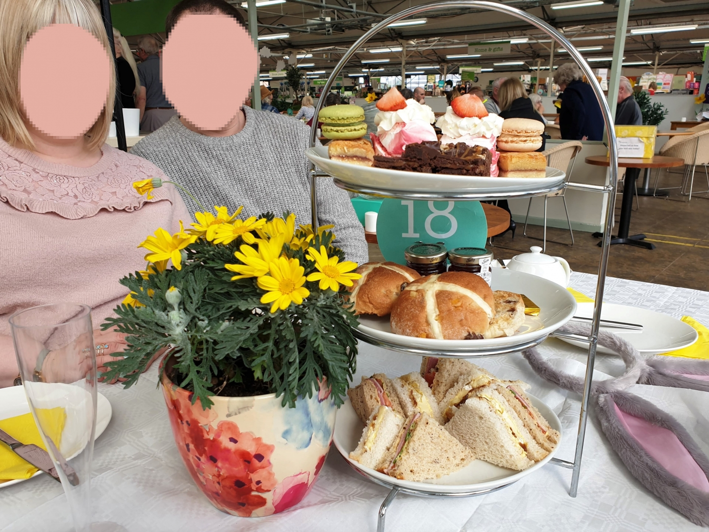 Easter afternoon tea stand at Wyevale Garden Centre