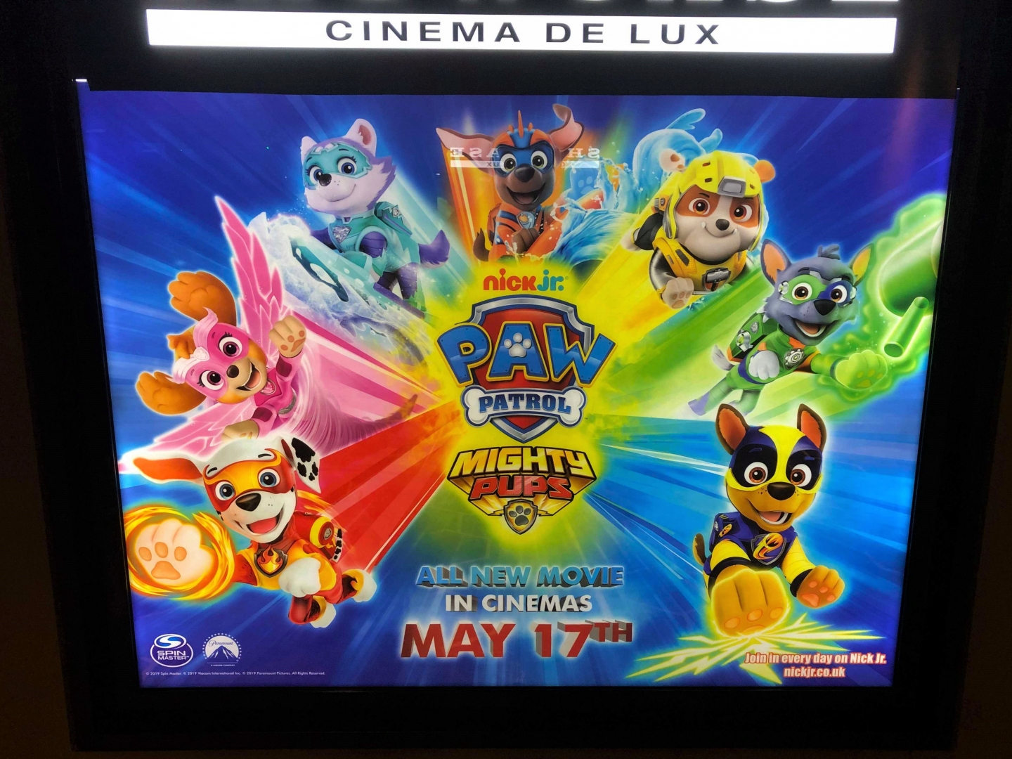 Showcase Cinema de Lux illuminated Paw Patrol Mighty Pups movie poster
