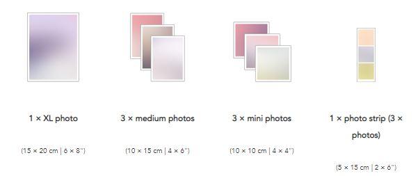 Klikkie photo sizes order