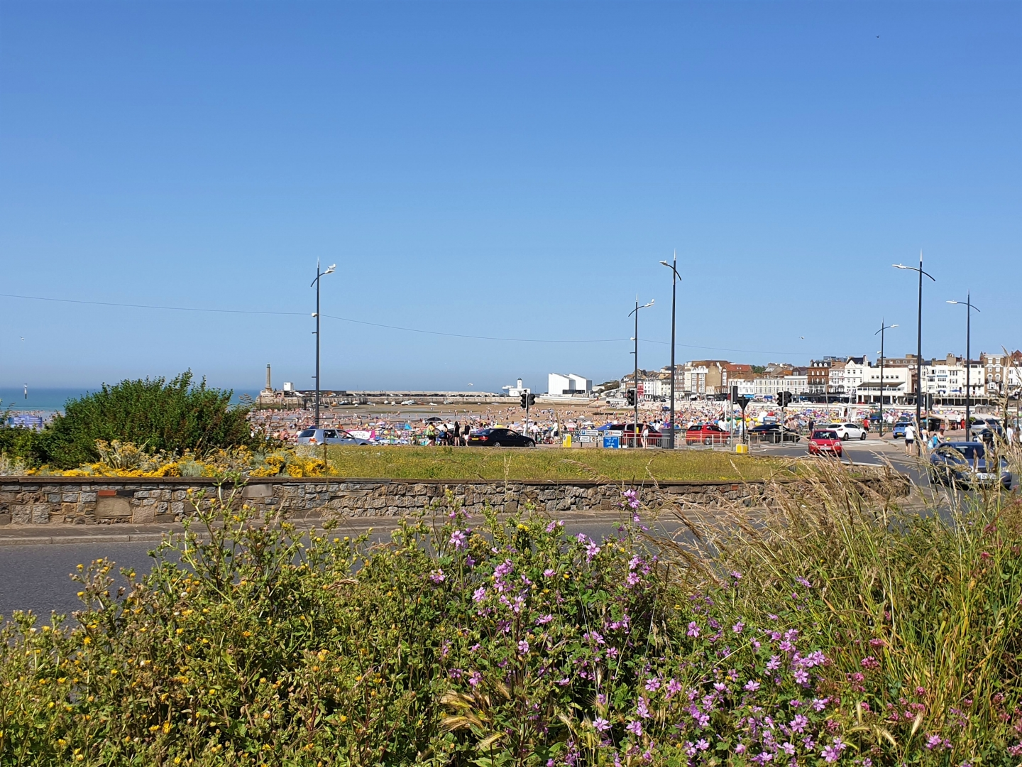 View of Margate beach from near the train station