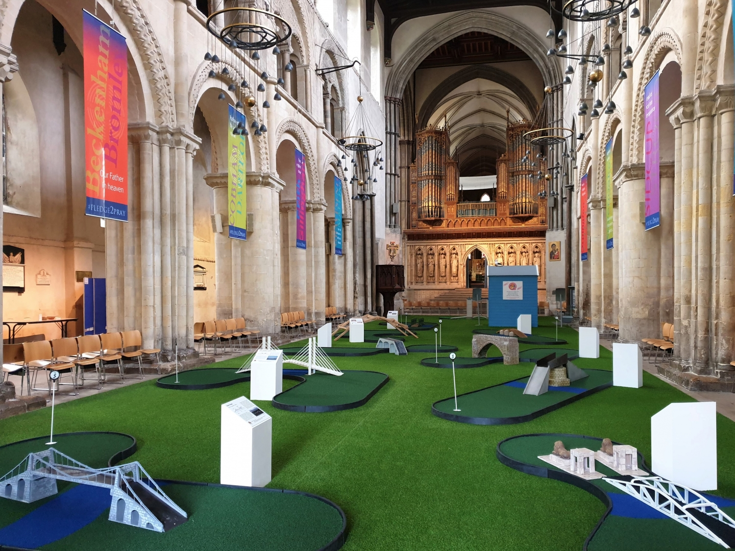 Rochester Cathedral adventure crazy golf in the nave Medway