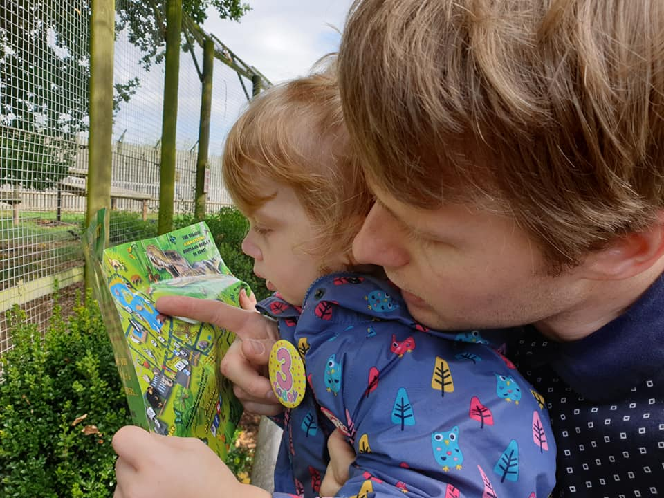 Toddler and Dad using map at Wingham Wildlife Park in Kent