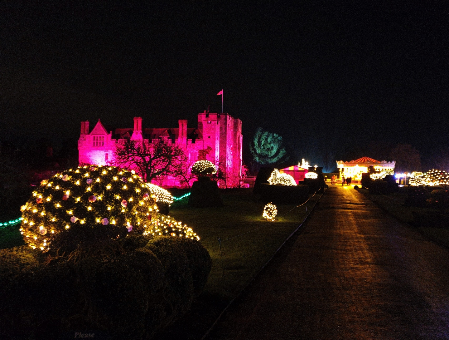Twilight Christmas lights at Hever Castle