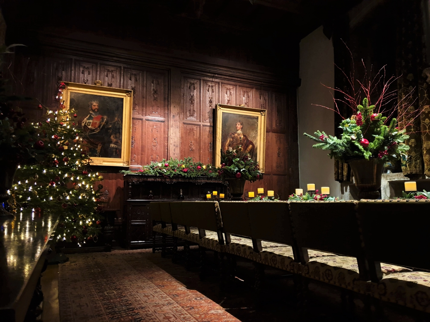 Festive dining room at Hever Castle