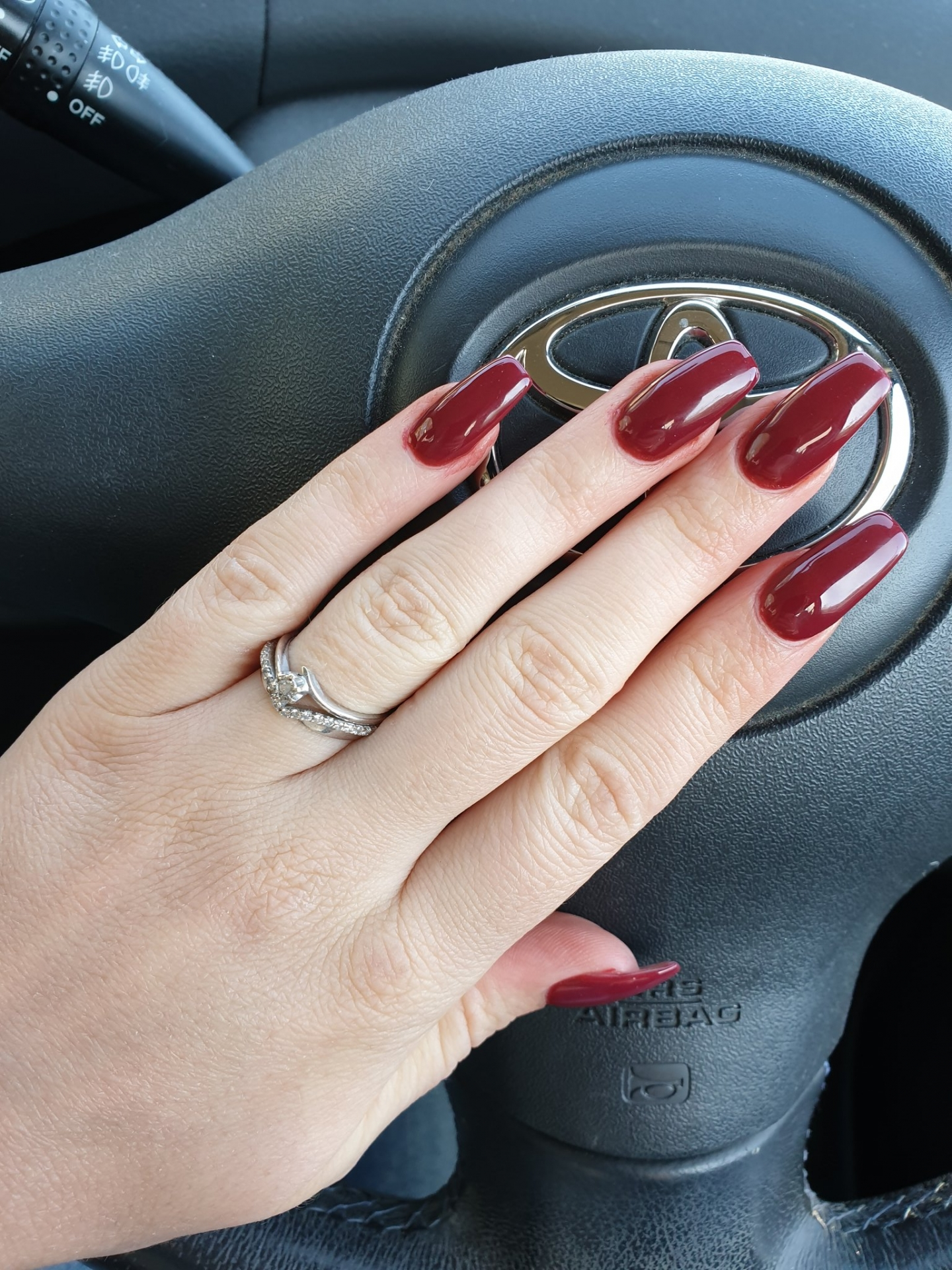 Maroon Red Coffin Nails
