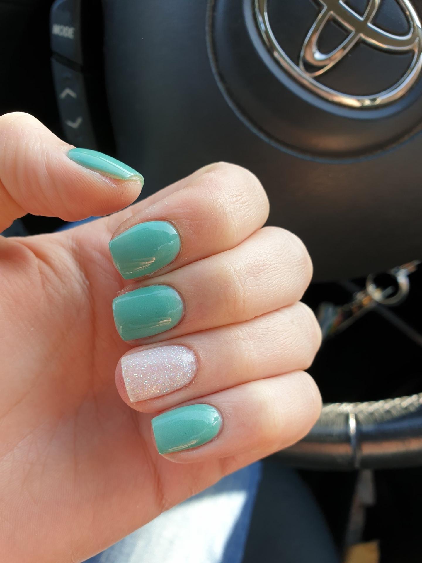 Mint green white glitter SNS manicure