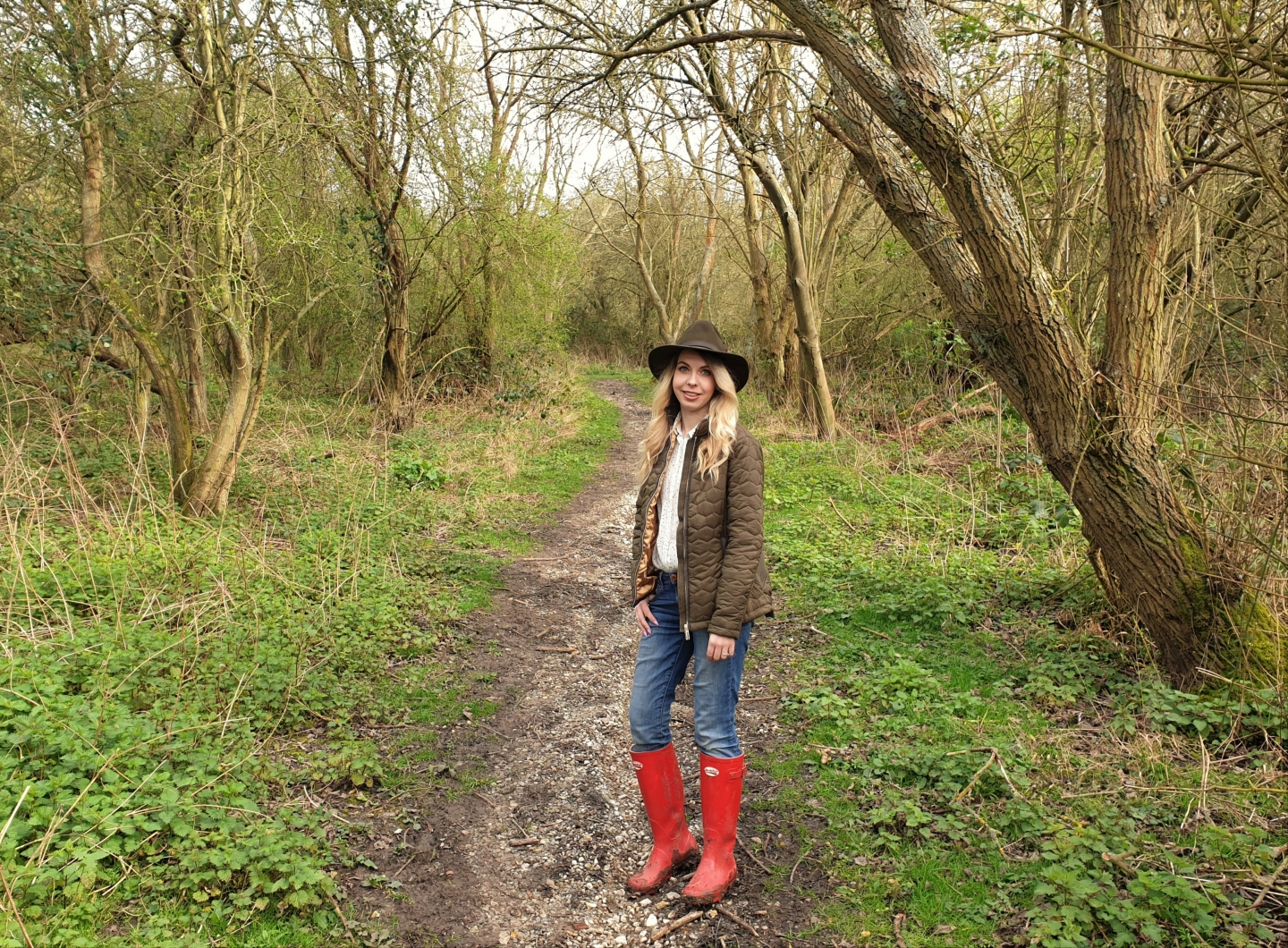 Rydale quilted jacket and Danby felt hat on a woodland walk