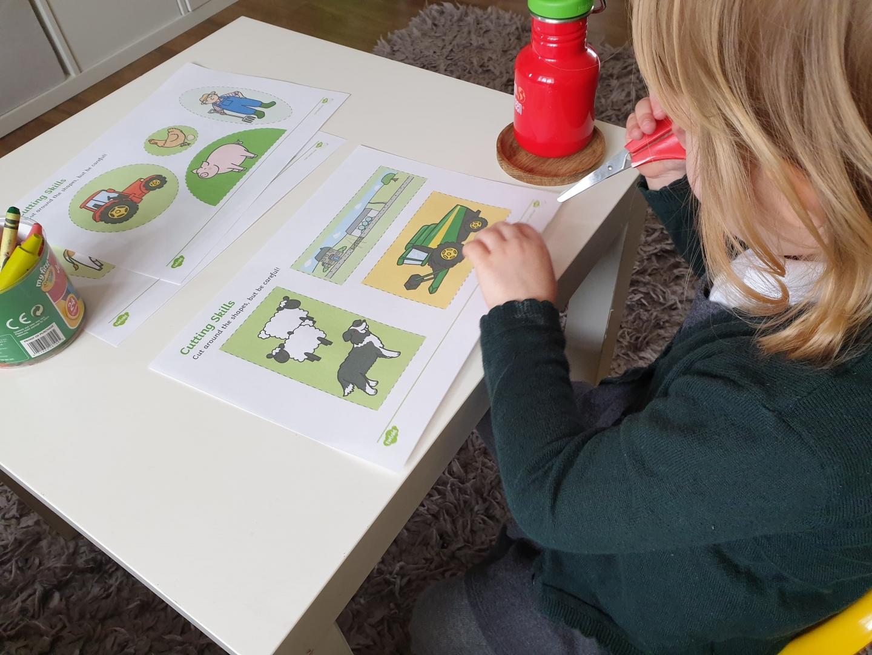 Preschool cutting skills worksheet
