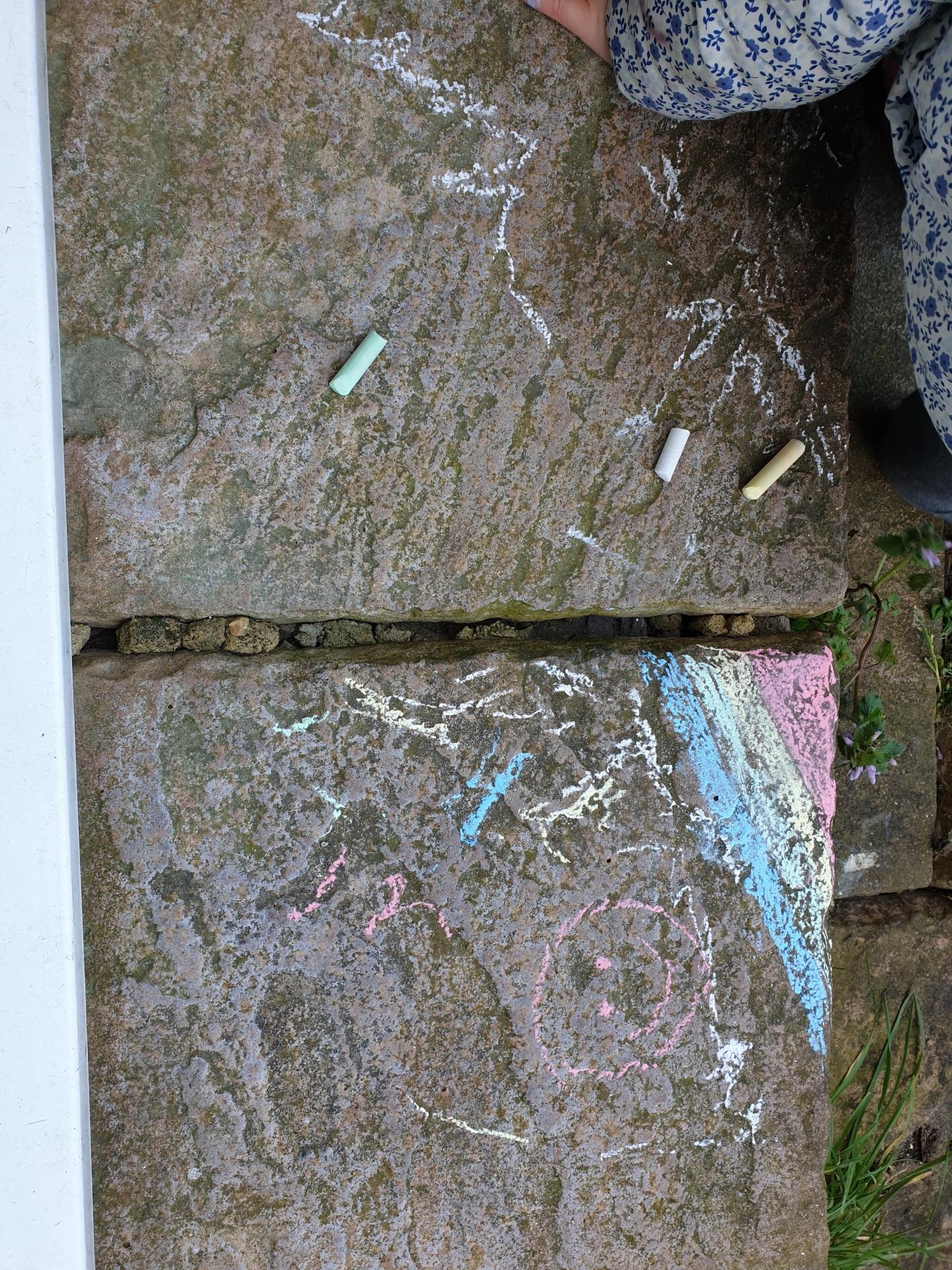 UK lockdown rainbow chalk drawing