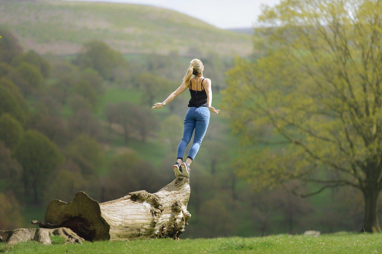 Woman following her dreams