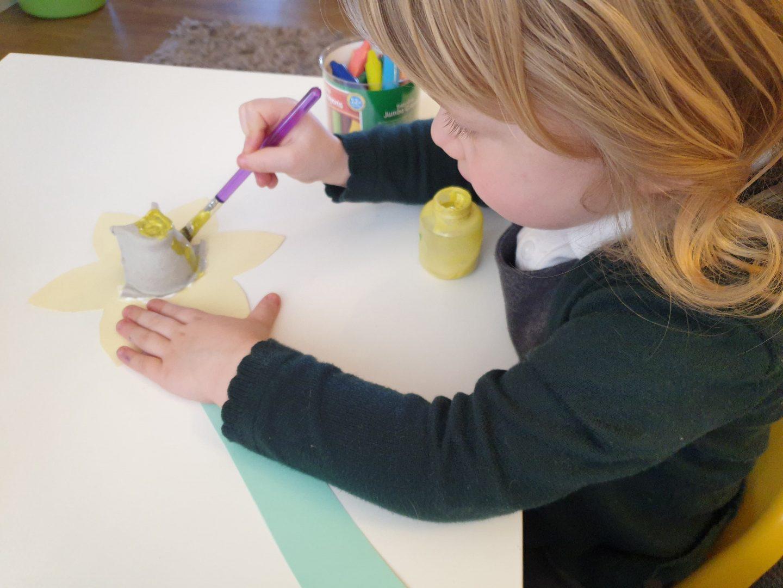 Toddler homeschool painting daffodil art