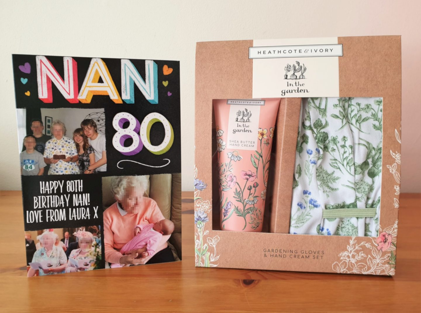 80th birthday card and gardener's gift set
