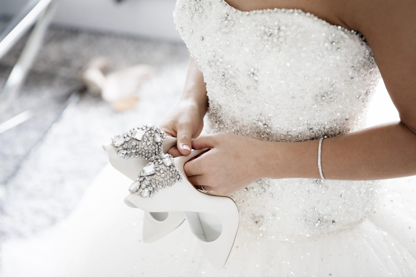 wedding dress, shoes and accessories