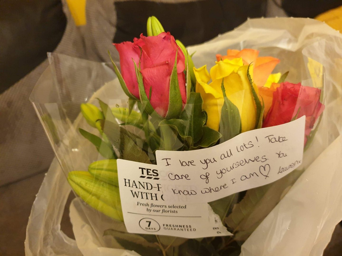 Flowers sent from friends after miscarriage