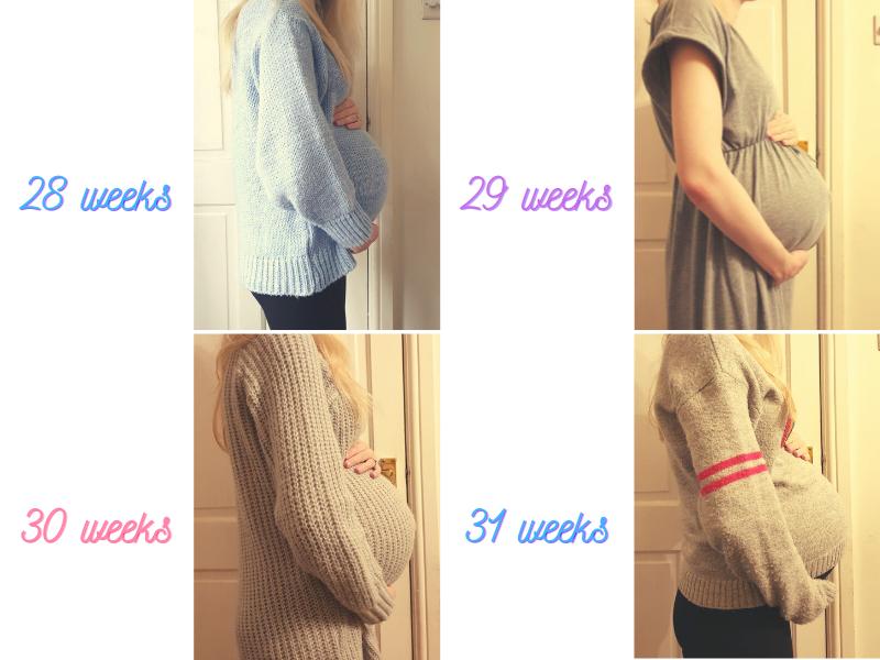 third trimester 28 weeks - 31 weeks bump photos