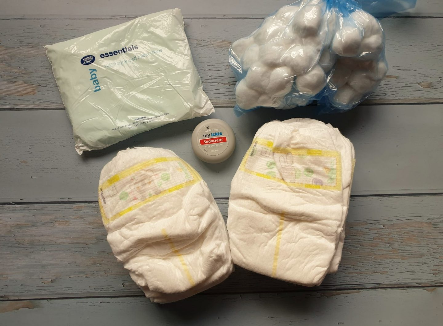 Nappies, cotton wool and Sudocrem for hospital bag
