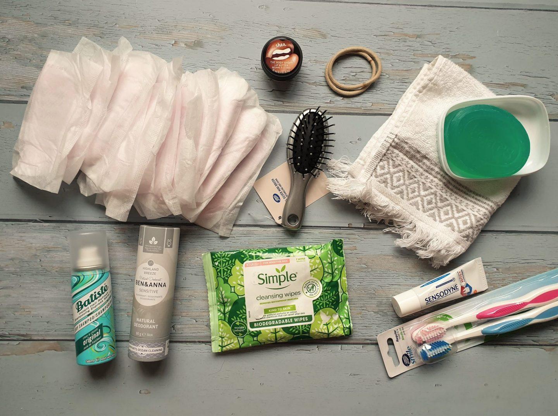 Toiletries for hospital bag