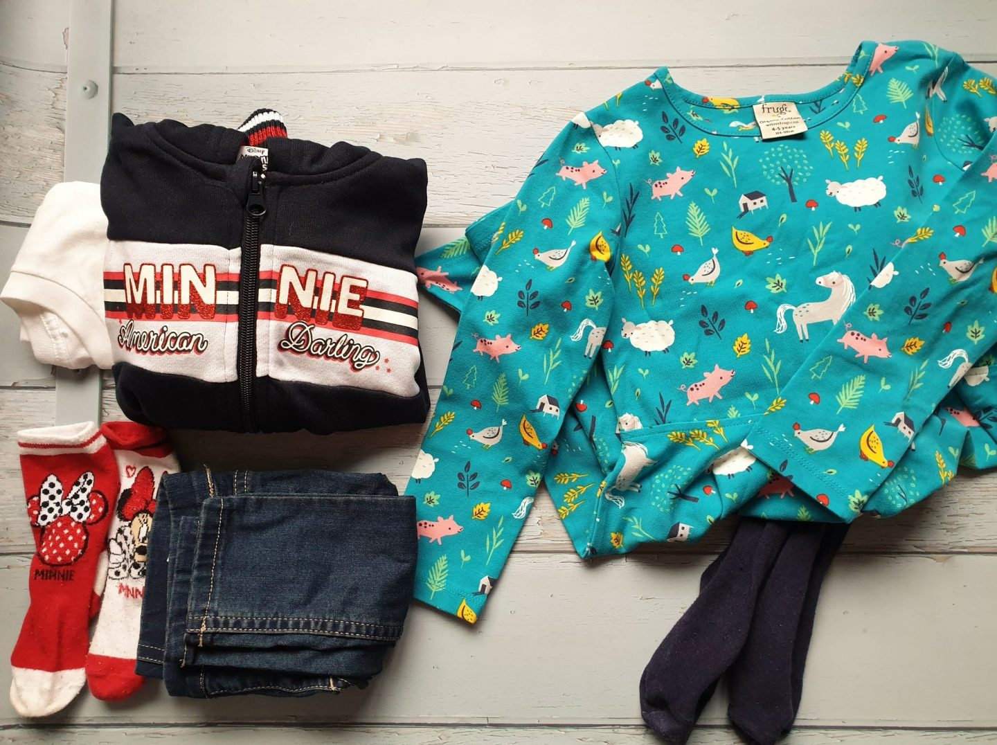 Frugi farmyard dress and Minnie mouse outfit
