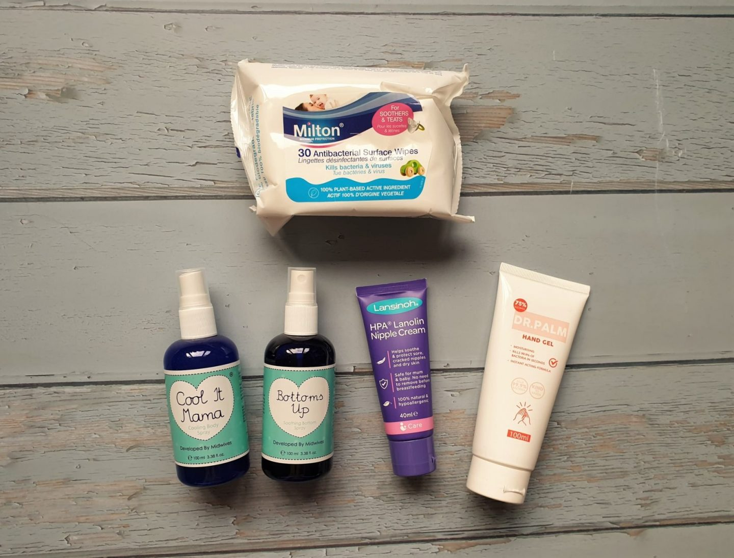 Creams, lotions and wipes from hospital bag