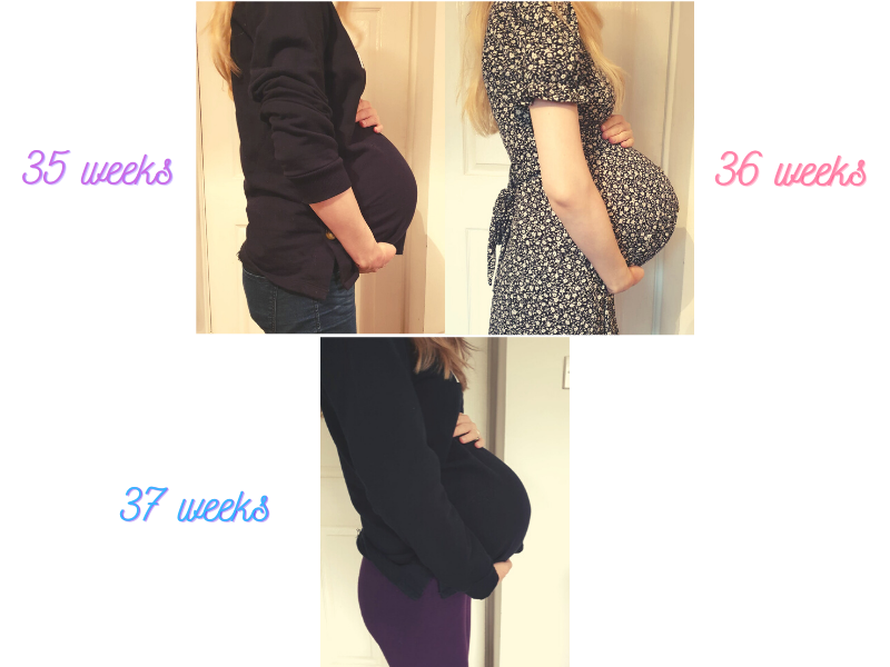 35 weeks - 37 weeks pregnancy bump pictures